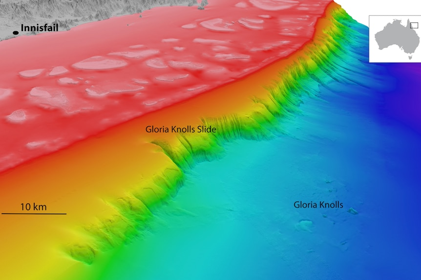 A 3D mapping image of the area where the Gloria Knolls Slide has been discovered by Queensland scientists.