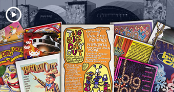 A mash-up of images of different Big Day Out albums, brightly coloured and covered in cartoon-ish figures.