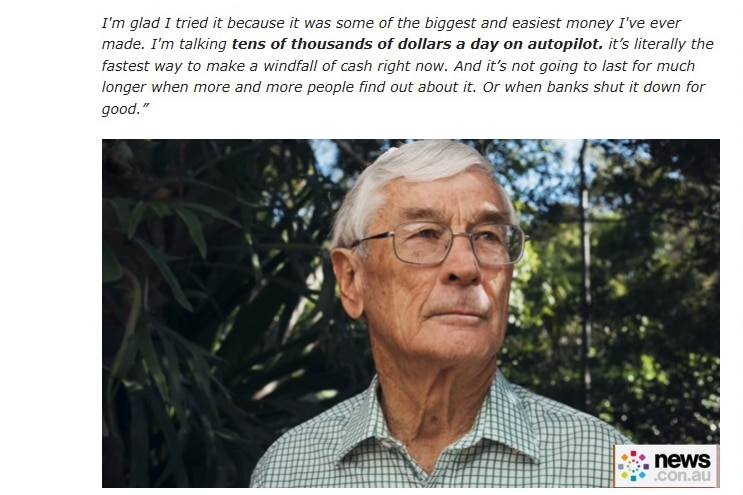 A fake news article with a photo of Dick Smith in the middle.