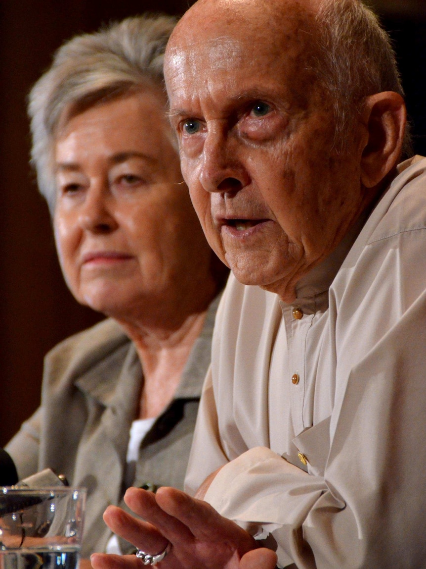 Lois and Juris Greste speak about the jailing of their son, Peter, at a press conference.
