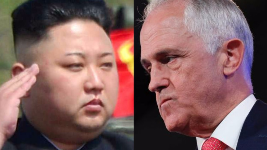 A composite image of Kim Jong-un and Malcolm Turnbull.