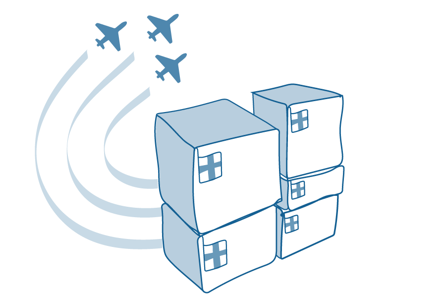 An illustration of a stack of boxes marked with a hospital cross and planes flying overhead.
