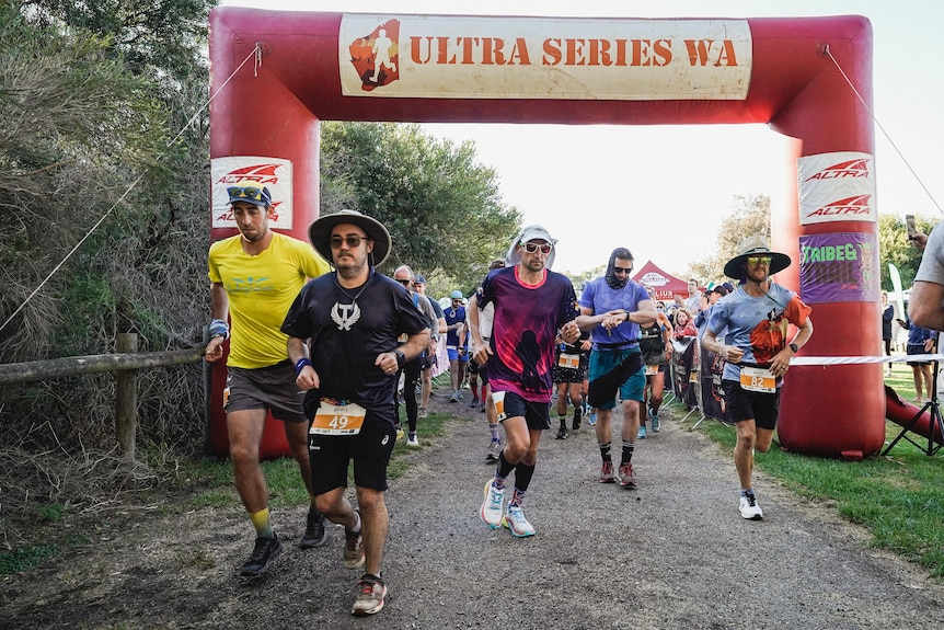 Runners at the starting line of a Perth ultra marathon