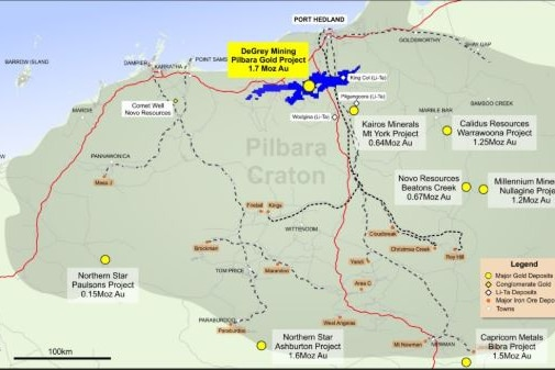 Pictures is De Grey Mining's Mallina Gold Project map - with the located about eighty kilometres south of Port Hedland.