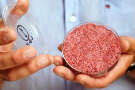 A vile of lab grown meat.