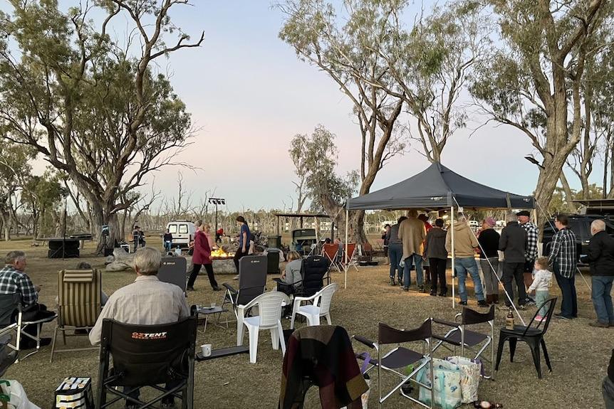 Dozens of people set up camp at Lara wetlands