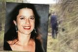 Graphic showing a picture of Ciara Glennon superimposed at the bush grave site in Eglinton