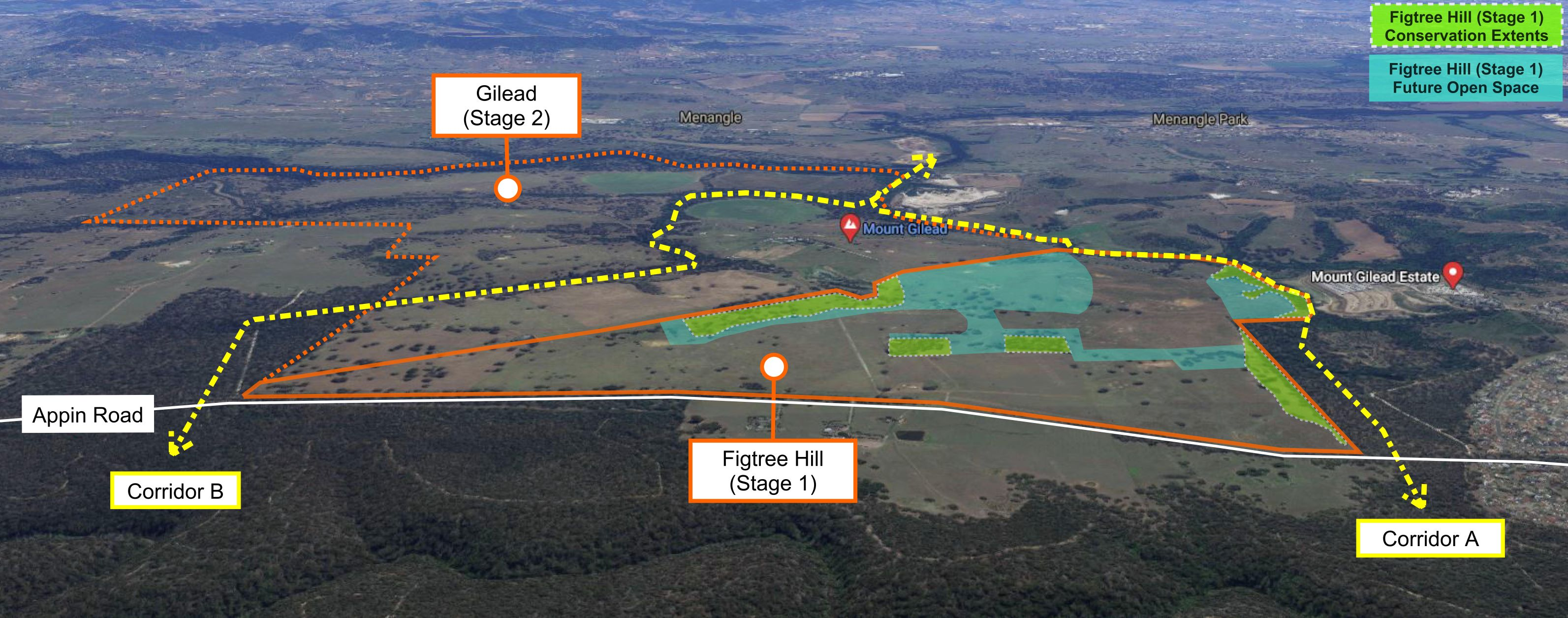 Koala migration routes around the Figtree Hill development at Gilead