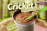 Advertisement showing a cricket on a leaf above a chocolate milkshake.