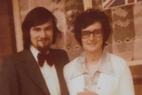 A photo of a couple in the early 1980s.