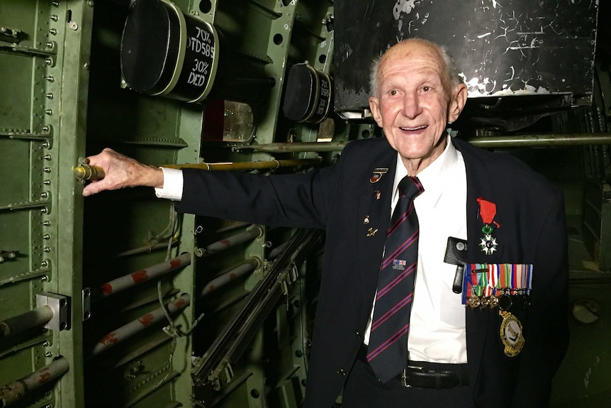 A photo of Murray Maxton at the 75 year commemoration service for Bomber Command in Canberra