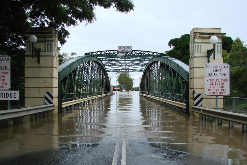 The Kennedy Bridge in Bundaberg is submerged.