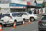 Cars outside a COVID testing clinic