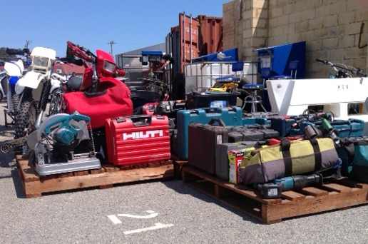 Stolen goods that were recovered after a police raid on a property in Casuarina