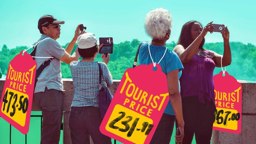 A photo of ageing tourists taking photos has been overlaid with large hand-drawn price tags marked with 'tourist prices'