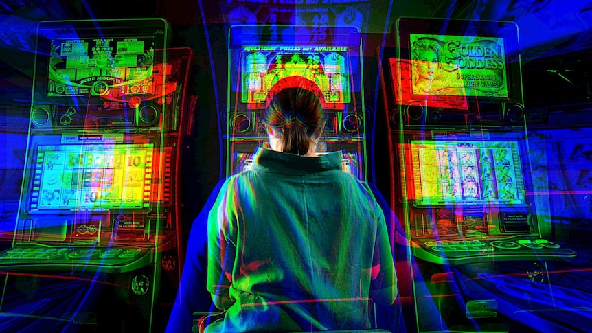 A distorted picture of a woman playing the pokies.