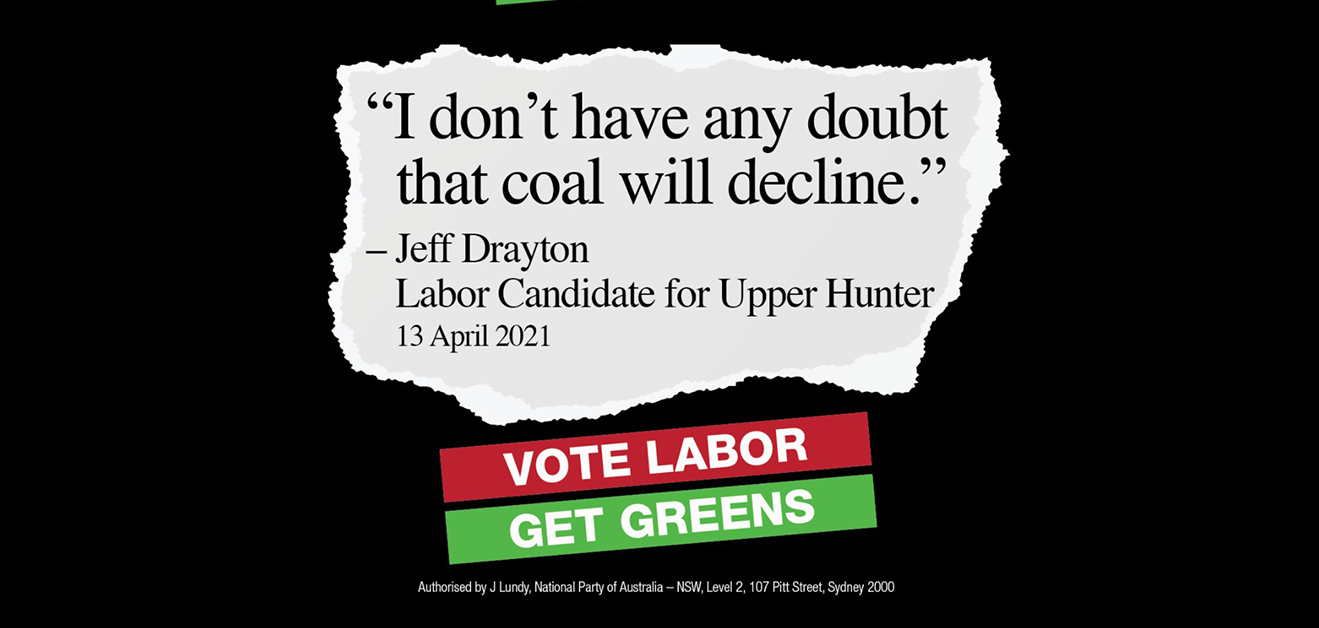 """A website says """"I don't have any doubt that coal will decline"""" says Jeff Drayton Labor candidate for the Upper Hunter"""