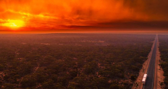 Drone photo of outback bushfire