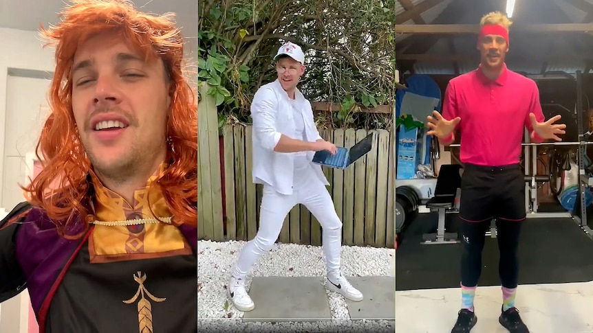 A montage of three screen captures from three different videos showing teacher Brendan Jackson in costume on Zoom