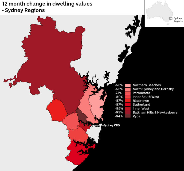 Map of Sydney region shows Northern Beaches and Northern Sydney are down 5.6%, Parramatta 7.4%, Blacktown 8.7% and Ryde 9.4%