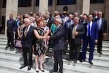 Pauline Hanson shakes WA party leader Colin Tincknell's hand