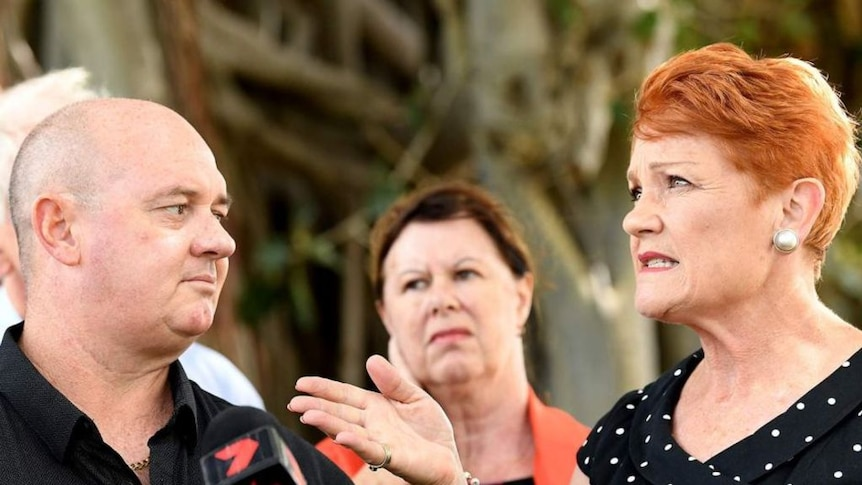 Pauline Hanson on Friday shut down questions over her candidate's sex shop.