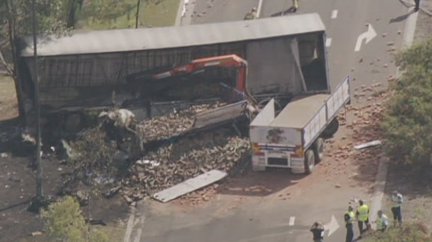 aerial of truck crash