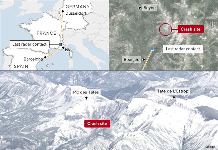 Map: Germanwings flight 4U 9525 crashed north-west of Nice in France, en route from Barcelona to Dusseldorf.