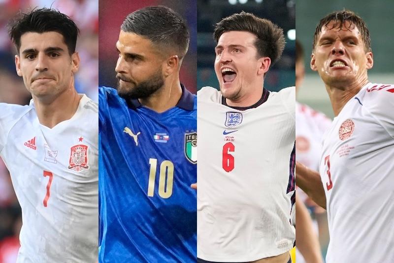 Alvaro Morata, Lorenzo Insigne, Harry McGuire and Jannick Vestergaard in various states of celebration