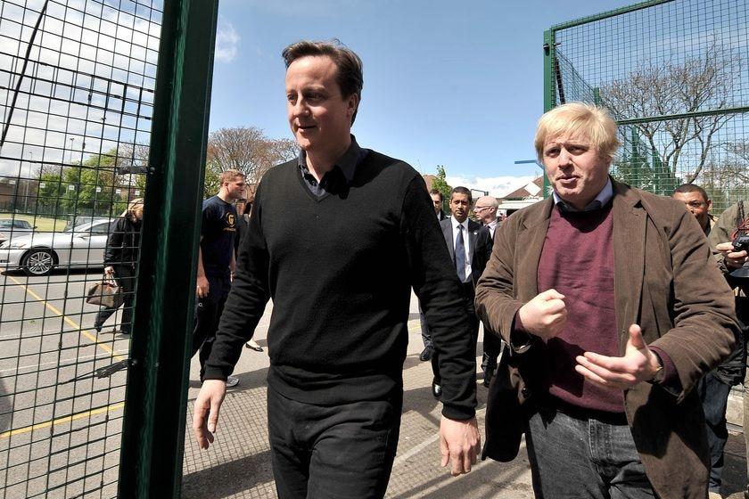 LtoR Conservative Party Leader David Cameron and London Mayor Boris Johnson