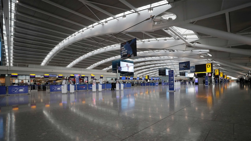 Empty terminal 5 at Heathrow Airport in London.