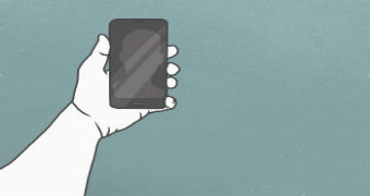 An illustration of a hand holding a smartphone.