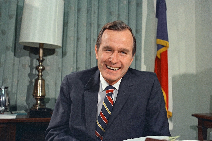 Newly appointed United Nations ambassador George HW Bush smiles.