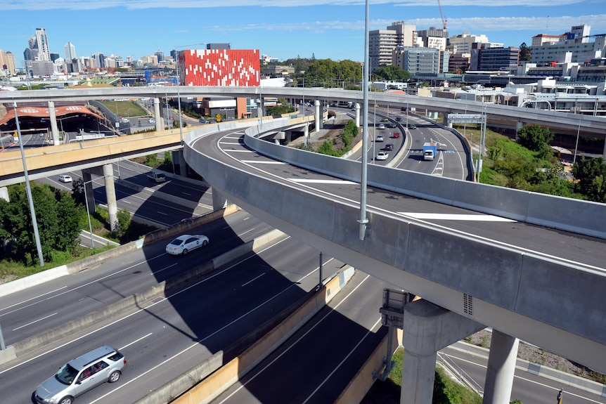 Cars move through the network of roadways and flyovers at Bowen Hills.