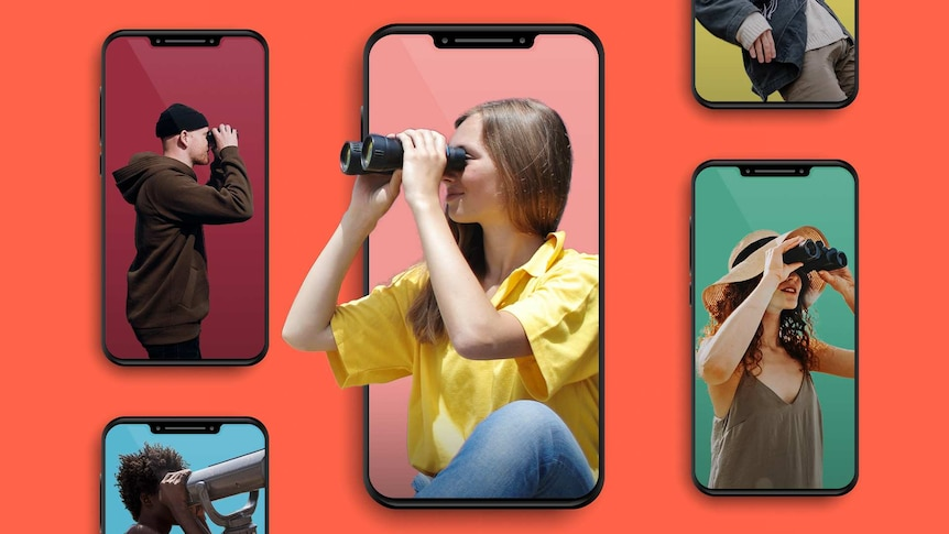 Gallery of images of people on phones using binoculars to depict getting what you want from dating apps without overinvesting.
