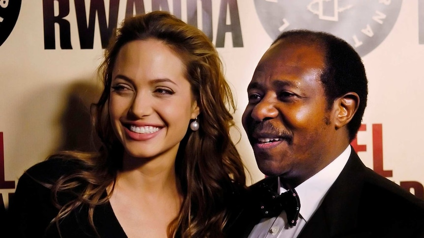 Paul Rusesabagina (right), the inspiration for the film Hotel Rwanda, poses with actress Angelina Jolie