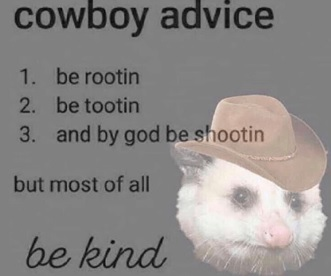 A ferret in a cowboy hat with words Cowboy advice, 1. be rootin, 2. Be tootin, 3. and by god be shootin but most of all be kind
