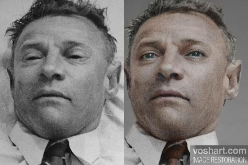 The Somerton Man's autopsy photo and a colourised, digital illustration of him