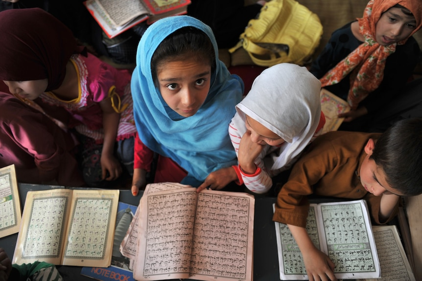 A girl in a classroom in Afghanistan looks straight into the camera.