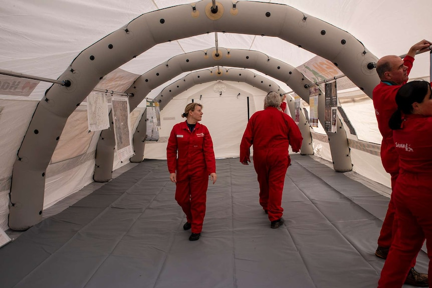 Inside the inflatable veterinary hospital