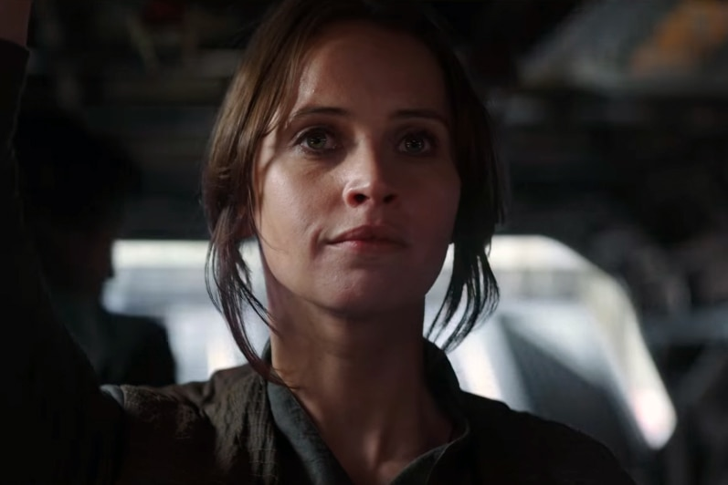 Actress Felicity Jones playing Jyn Erso in Star Wars Rogue One.