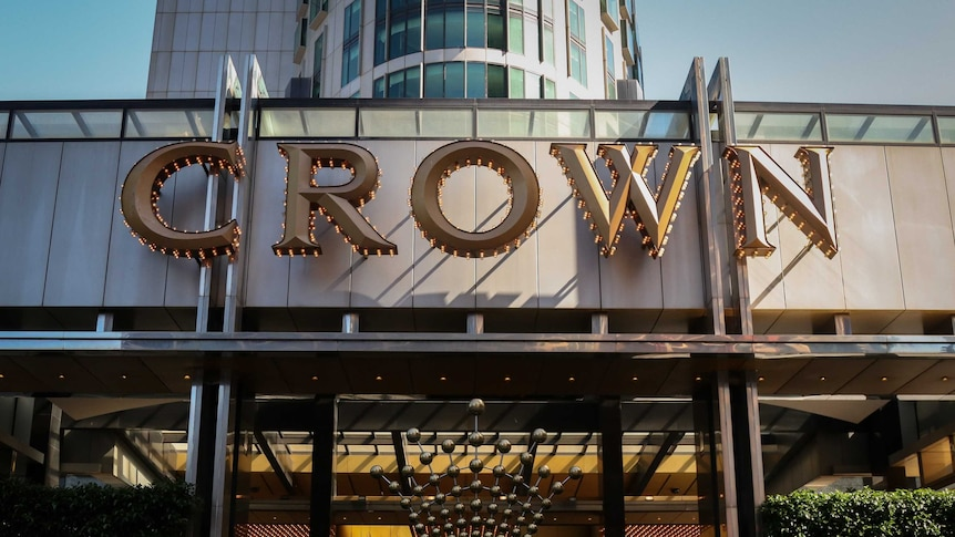 The outside of Crown Casio in Melbourne under a blue sky.