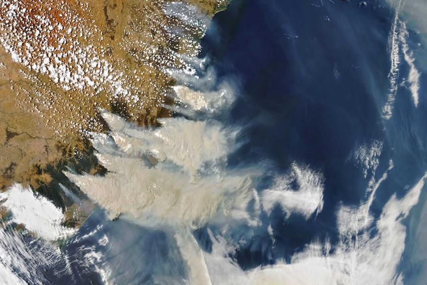 Smoke from fires in southeastern Australia.