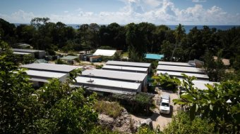 An aerial view shows refugee accommodation on Nauru.