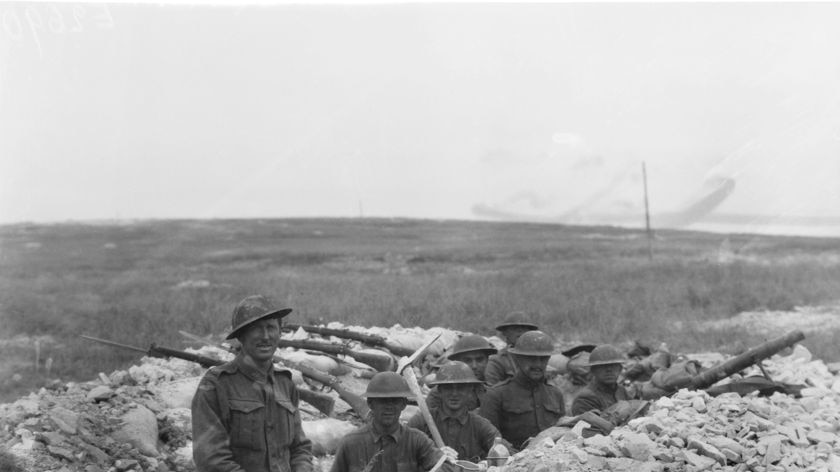 American and Australian troops dug in together during the Battle of Hamel.