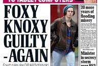A UK Daily Mail newspaper front cover with the large words 'Foxy Knoxy Guilty - Again'.