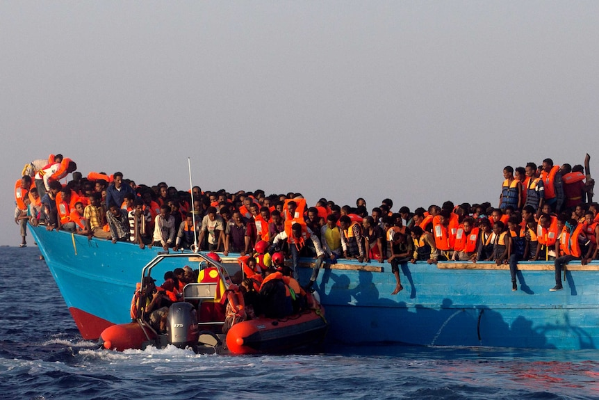 Refugee boat off coast of Libya