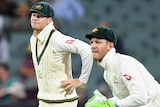 Steve Smith and Tim Paine in the field during a Test match against England