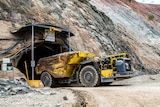 Truck emerges from underground gold mine.