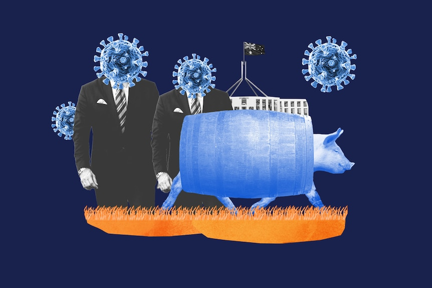 A collage-style illustration includes a pig with a barrel around its middle, men in suits with COVID heads, and Parliament House
